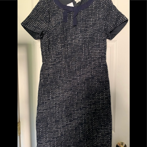 J Crew lined tweed dress w/bow accent on neckline
